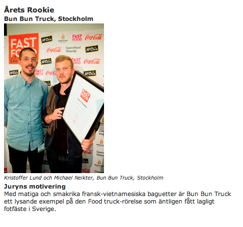 Fast Food Awards – Årets Rookie